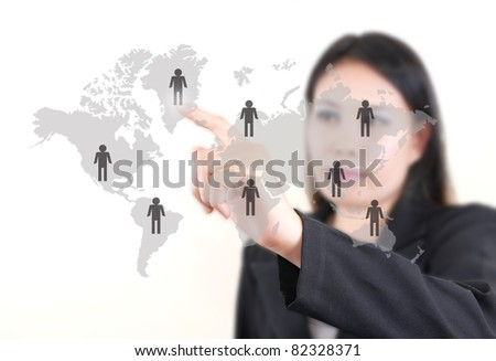 Asian business lady pushing people communication on the whiteboard.