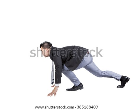asian business man acting like running athlete  isolated white background