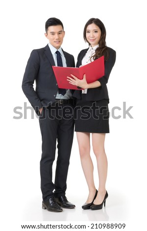 Asian business man and woman discussing, full length portrait isolated on white background. - stock photo