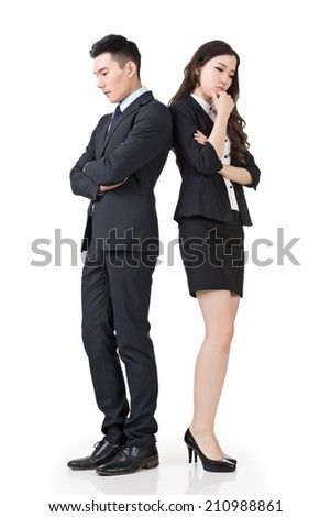 Asian business man and woman feel confused and worried, full length portrait isolated on white background. - stock photo