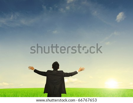 asian business man freedom concept photo - stock photo