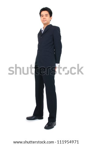 asian business man full body, isolated on white - stock photo