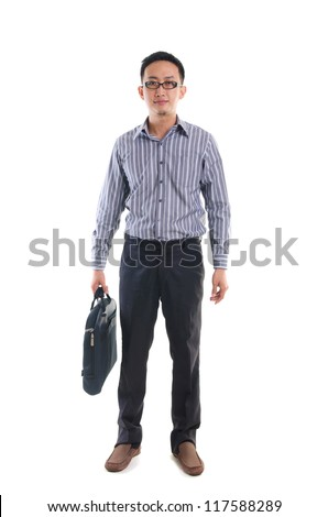 asian business man full body isolated on white - stock photo