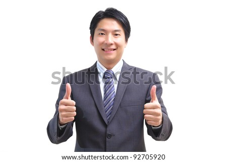 Asian business man giving two thumb up, isolated on white - stock photo