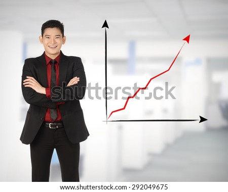 Asian business man happy because increase sales