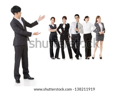 Asian business man introduced his team people. - stock photo