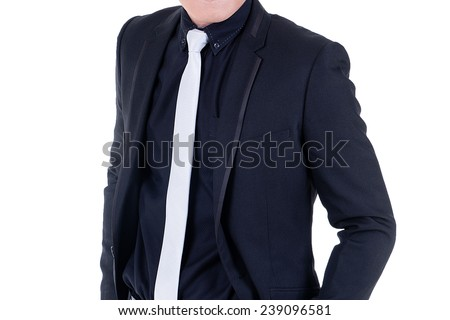 Asian business man isolated on white background.