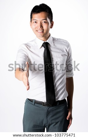 Asian Business man ready to shake hands.