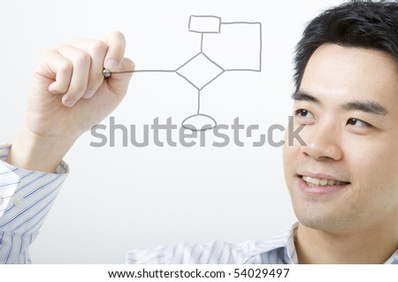 asian business man smiling and drawing flowchart - stock photo