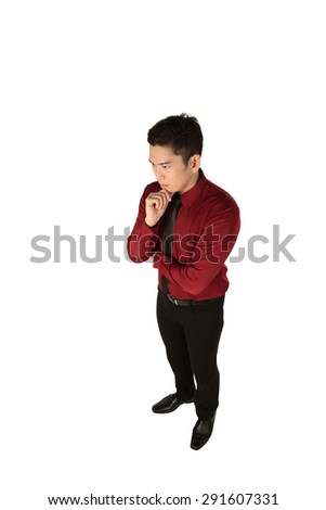 Asian business man thinking isolated over white background - stock photo