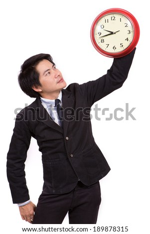 Asian business man with clock