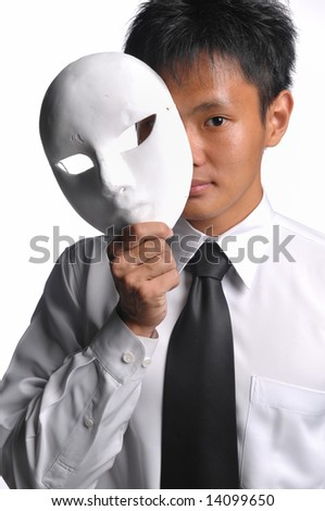 asian business man with mask - stock photo