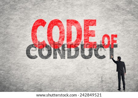Asian business man write words on wall, Code Of Conduct - stock photo