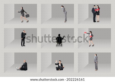 Asian business people standing in the box, concept of struggle, competition, office wars etc.  - stock photo