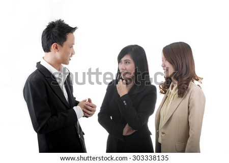 Asian Business People Talking About Assignment
