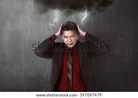 Asian business person get stress. Business depression concept