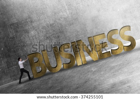 Asian business person pushing 3D business word uphill