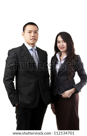 Asian business team man and woman portrait on white background