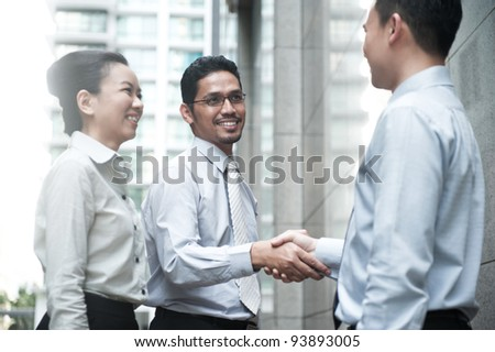 Asian Business Team Outdoor - stock photo