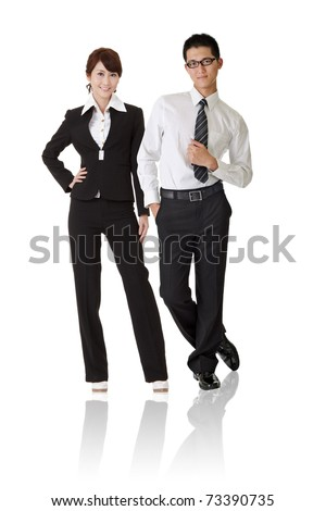 Asian business woman and man with confident expression standing, full length portrait isolated on white background. - stock photo