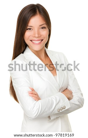 Asian business woman. Businesswoman portrait of smiling happy mixed race young professional in her twenties isolated on white background wearing suit proud. Mixed Asian / Caucasian female model - stock photo