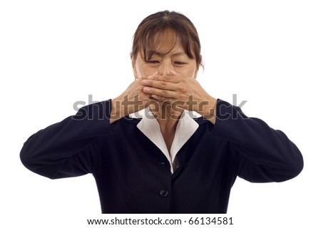 Asian business woman covering her mouth, speak no evil isolated over white background - stock photo