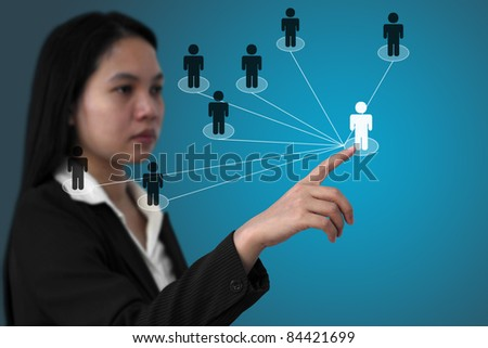 asian business woman do social network (Selective focus on finger)