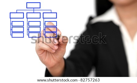 Asian business woman drawing organization chart - stock photo