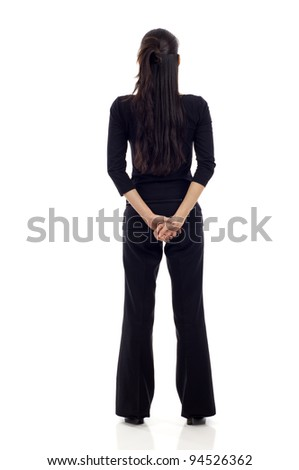 Asian business woman full body from back isolated over white - stock photo