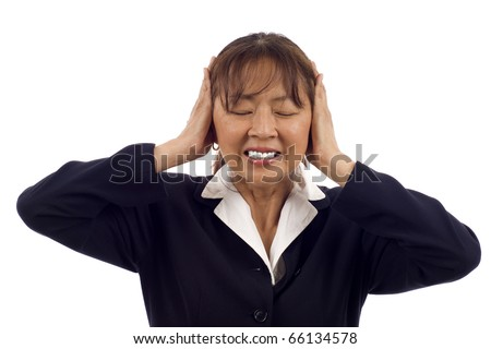 Asian business woman hear no evil isolated over white background - stock photo