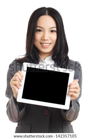 Asian business woman hold tablet , focus on tablet - stock photo