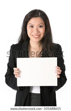 Asian Business woman holding an empty white sign.