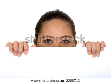 asian business woman holding white card over a white background