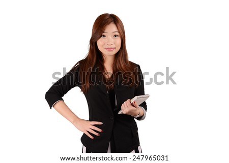 Asian business woman in black suit