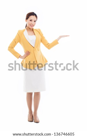 Asian business woman indicate blank space isolated on white background. - stock photo