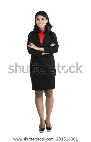 Asian business woman isolated over white background - stock photo