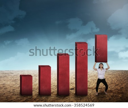 Asian business woman lifting block of chart. Business challenge concept