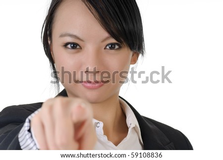 Asian business woman point at you, closeup portrait on white background. - stock photo
