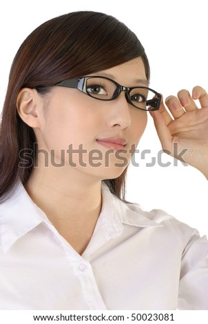 Asian business woman portrait with glass on white background.