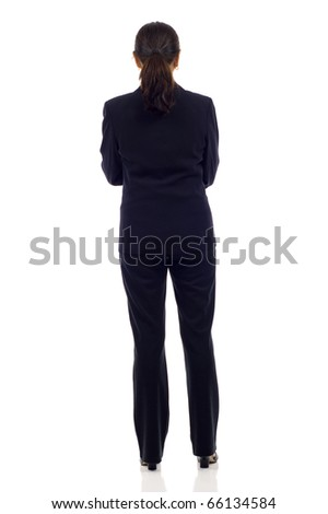 Asian business woman's back isolated over a white background - stock photo
