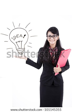Asian business woman showing copy space. Presentation. Isolated over white background. - stock photo
