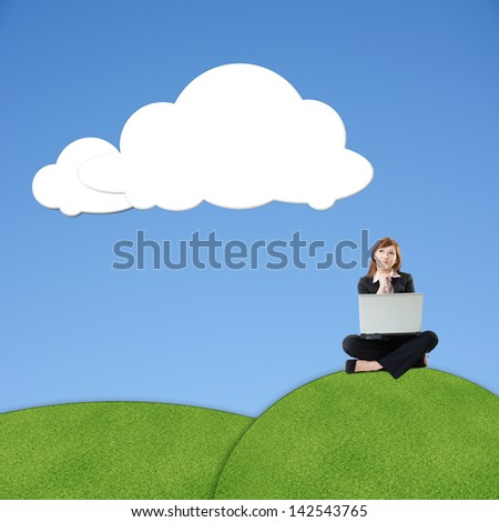 Asian business woman sit on grassland under blank white clouds, photo manipulation.