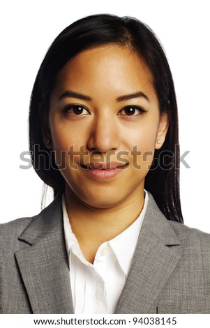 Asian business woman smiling over white background - stock photo