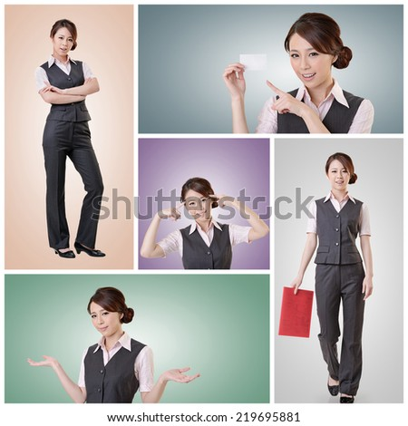 Asian business woman standing against studio background, collection portrait with clipping path. - stock photo