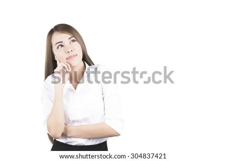 Asian Business Woman Thinking - stock photo