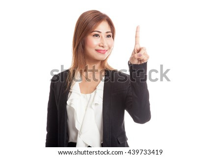 Asian business woman touching the screen with her finger isolated on white background  isolated on white background - stock photo