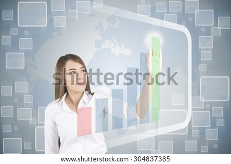 Asian Business Woman Touching Transparent Screen With Growth Graph - stock photo