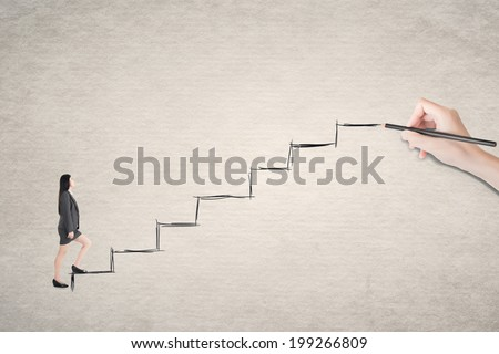 Asian business woman walk on stairs. - stock photo