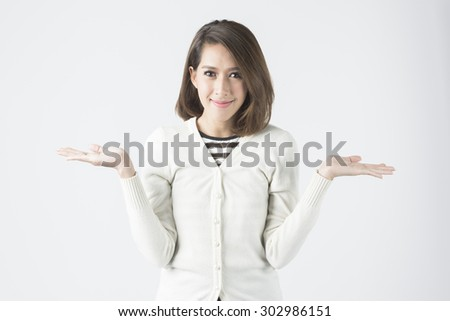 Asian Business Woman With Both Hand. Concept for 2 Choices