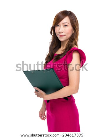Asian business woman with clipboard